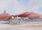 Spencer Tart watercolour artist original SUR BEACH AGIA
