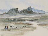 Spencer Tart watercolour artist original JABAH AL AKHDAR