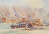 Spencer Tart watercolour artist original KHASAB FORT MUSANDAM